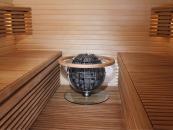 Harvia Globe - um�st�n� v lavici s ochrann�m sklem a ohr�dkou
