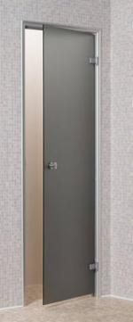 Skleněné dveře - PRAVÉ, ALU rám, 7x19 šedé